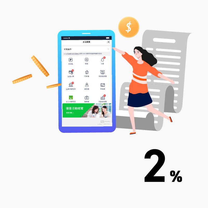 【生活繳費】LINE Pay Money 當月消費任一筆,指定項目繳費最高享 2% 點數回饋